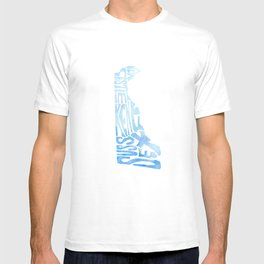 Typographic Delaware - blue watercolor map T-shirt