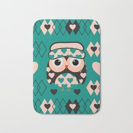 Owl and heart pattern Bath Mat