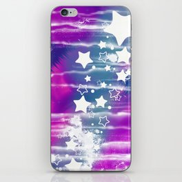 Girly Blue Purple Abstract Star iPhone Skin