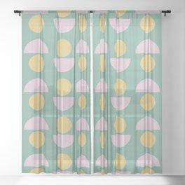 Scandinavian Geometric Pattern in Green, Lavender and Yellow Sheer Curtain