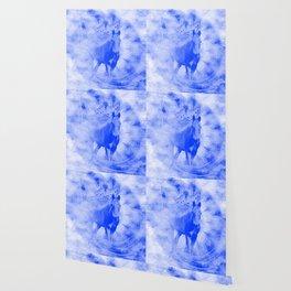 Blue pegasus in mysterious mandala landscape Wallpaper