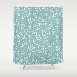 Assorted Leaf Silhouette Pattern Teals Shower Curtain
