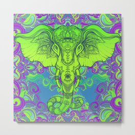 Green Ganesha Metal Print