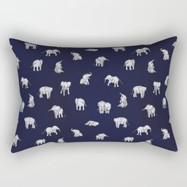 Indian Baby Elephants in Navy Rectangular Pillow