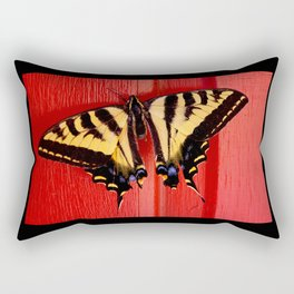 tiger swallowtail butterfly on unusual background Rectangular Pillow
