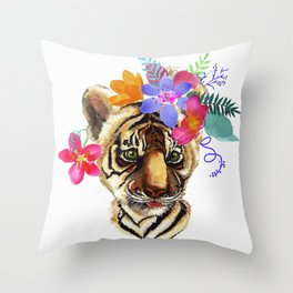 Tiger Cub with Flowers Throw Pillow