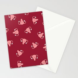 Crazy Happy Uterus in Red, Large Stationery Cards