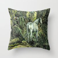 pixies Throw Pillows featuring Unicorn & Pixies by Mike Lowe