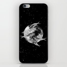fish thank with floathing moon iPhone Skin