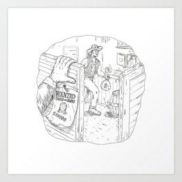 Cowboy Robbing Saloon Drawing Art Print