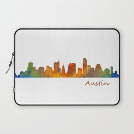 Austin Texas, City Skyline, watercolor  Cityscape Hq v1 Laptop Sleeve