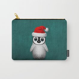 Baby Penguin Wearing a Santa Hat on Blue Carry-All Pouch
