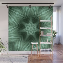 Green Star Flower Blossom Metallic Color #Pattern #Background Wall Mural