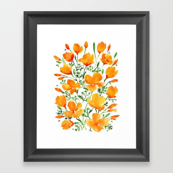Watercolor California poppies Gerahmter Kunstdruck
