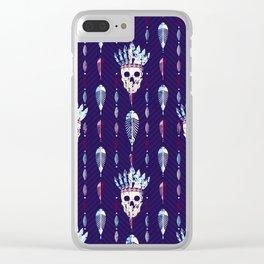 Skull with indian feathers hat pattern. Clear iPhone Case