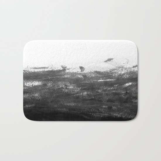 Durand - black and white minimal painting india ink brushstrokes abstract art canvas for home decor Bath Mat