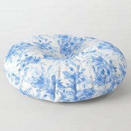 Juicy Watercolor Chintz in Cornflower Blue on White  Floor Pillow