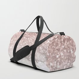 Sparkle - Glittery Rose Gold Marble Duffle Bag