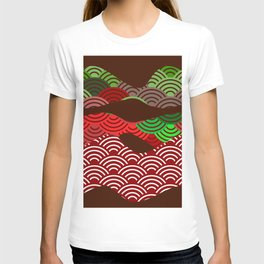 scales simple Nature background with japanese wave circle pattern dark brown burgundy maroon green T-shirt