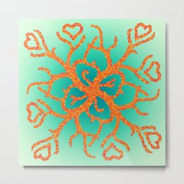 Fire Coral Hearts Metal Print