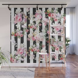 Bold pink watercolor roses floral black white stripes Wall Mural