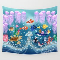 nemo Wall Tapestries featuring Sea Wallpainting by princessbeautycase