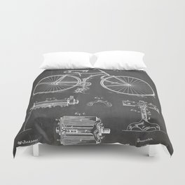 Bicycle Patent - Cyclling Art - Black Chalkboard Duvet Cover