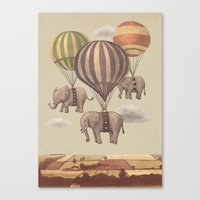 vintage Canvas Prints featuring Flight of the Elephants  by Terry Fan