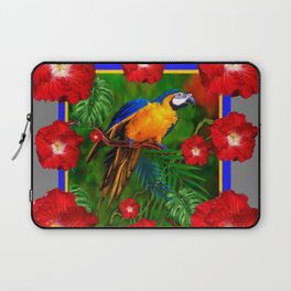 GREY RED HIBISCUS GOLD MACAW JUNGLE ART Laptop Sleeve