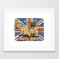 english bulldog Framed Art Prints featuring English Bulldog by Brian Raszka Art & Illustration