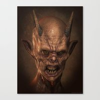 demon Canvas Prints featuring Demon by Monster Faces Creature Prints