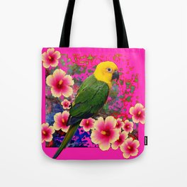 YELLOW HEADED GREEN PARROT PINK HIBISCUS  FUCHSIAFLORAL Tote Bag