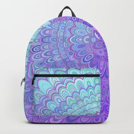 Mandala Flower in Light Blue and Purple Backpack