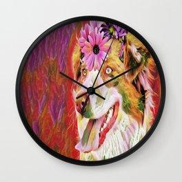 floral dog Wall Clock