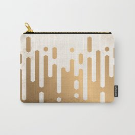 Marble and Geometric Diamond Drips, in Gold Carry-All Pouch