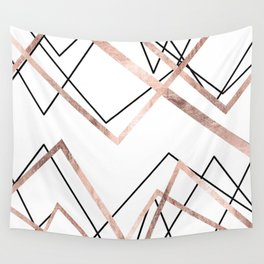 Rose Gold White Linear Triangle Abstract Pattern Wall Tapestry