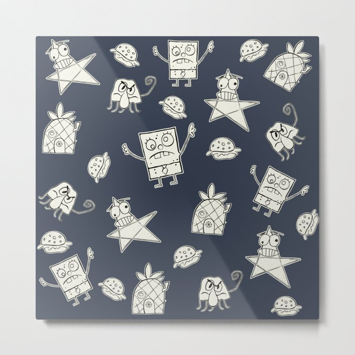 Doodle Bob Pattern Metal Print