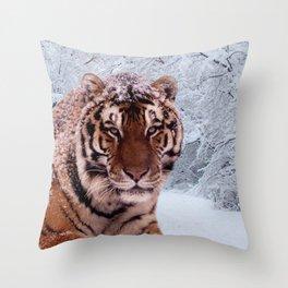 Tiger and Snow Throw Pillow