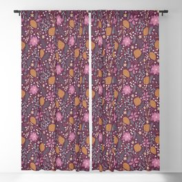 Christmas Florals in Purple Blackout Curtain