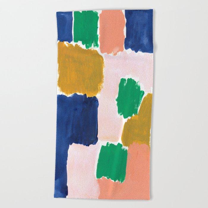 Shel - abstract painting boho modern bright minimal color palette gender neutral dorm college decor Beach Towel