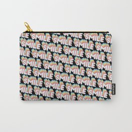 'Smile' Trendy Rainbow Text Pattern (Black) Carry-All Pouch