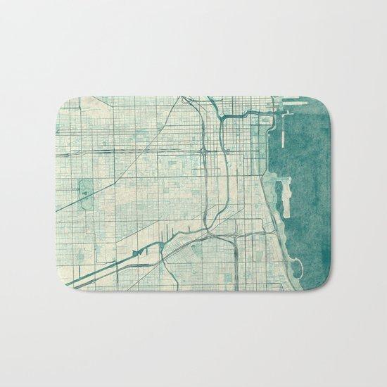 Chicago Map Blue Vintage Bath Mat