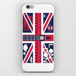 Vintage Union Jack UK Flag with London Decoration iPhone Skin