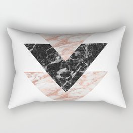 Marbles rose gold gilded triangles Rectangular Pillow