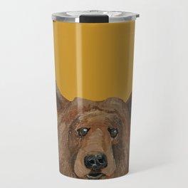 Bear on mustard Travel Mug