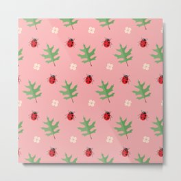 Ladybugs on pink Metal Print