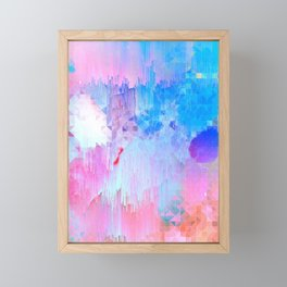 Abstract Candy Glitch - Pink, Blue and Ultra violet #abstractart #glitch Framed Mini Art Print