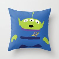 toy story Throw Pillows featuring Toy Story Alien by TracingHorses