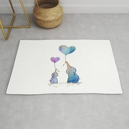 Colorful Watercolor Elephants Love Rug