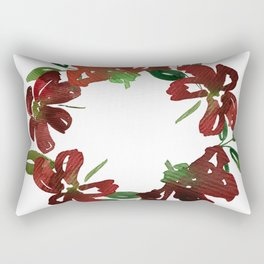 Autumn Watercolor Burgundy Flowers Rectangular Pillow